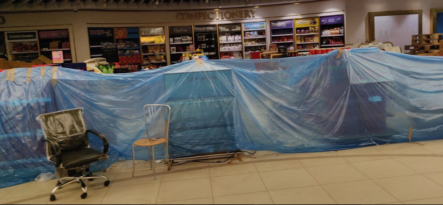 The usually lively Duty Free section closed down due to the lockdown. Photo: Connected to India