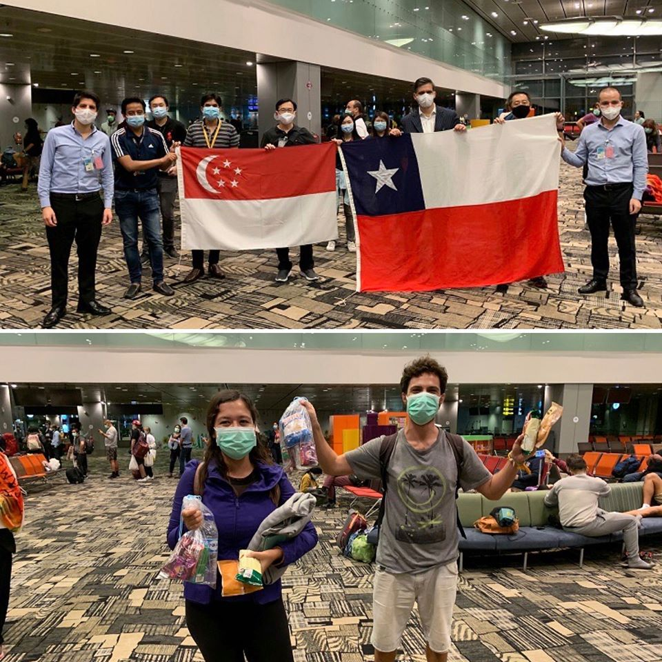 Group of happy Chileans returning home from Changi Airport. Photo courtesy: Changi Airport