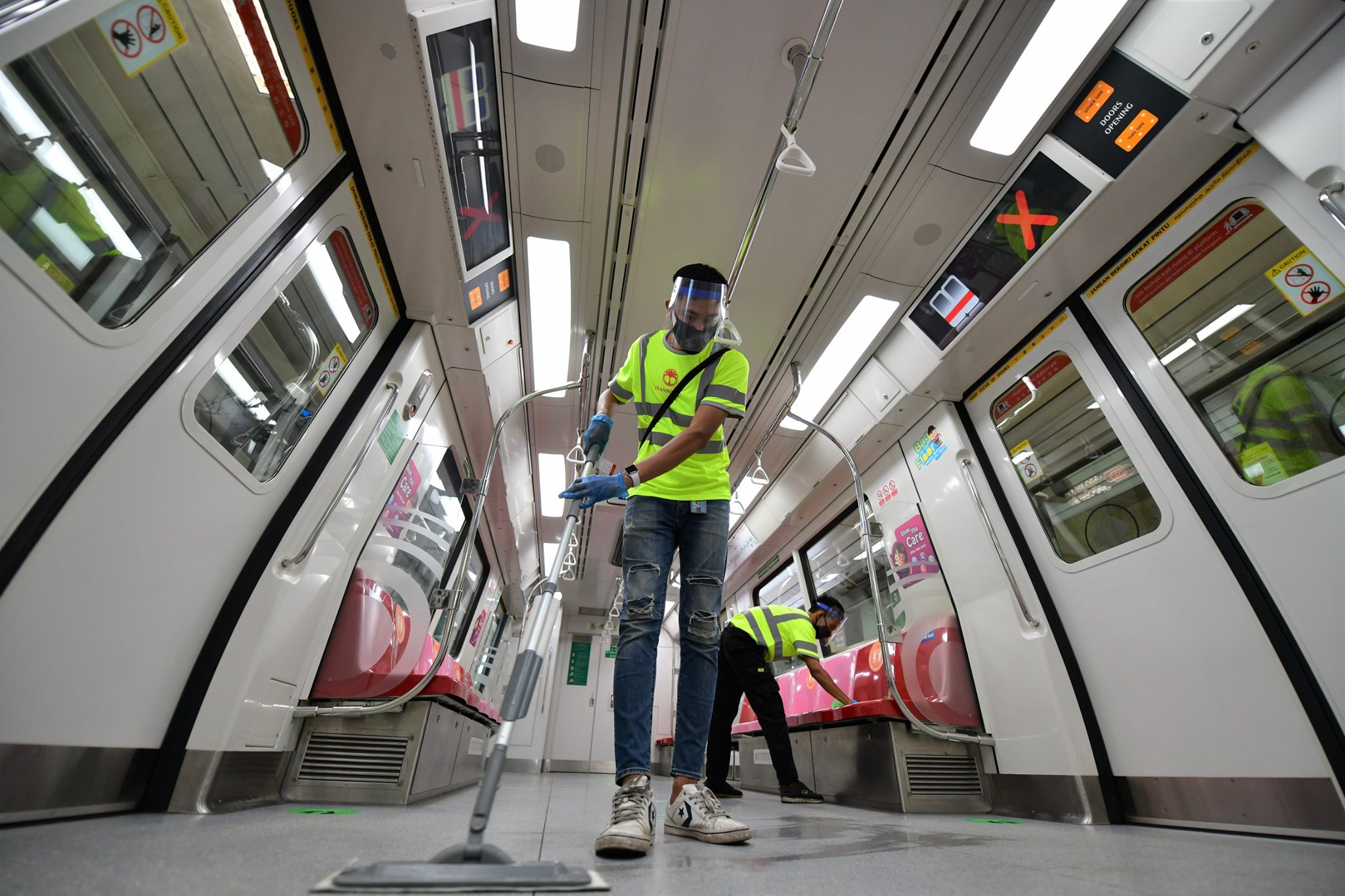 Land Transport Authority said a new self-disinfecting chemical coating, which can last up to six months, is also being applied to high contact points in buses and trains such as the handrails, buttons, grab poles and seats. Photo courtesy: Facebook/Khaw Boon Wan
