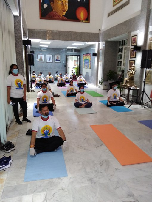 Yoga session with social distancing at the Indian consulate in Dubai on IDY 2020. Photo courtesy: Twitter/@cgidubai