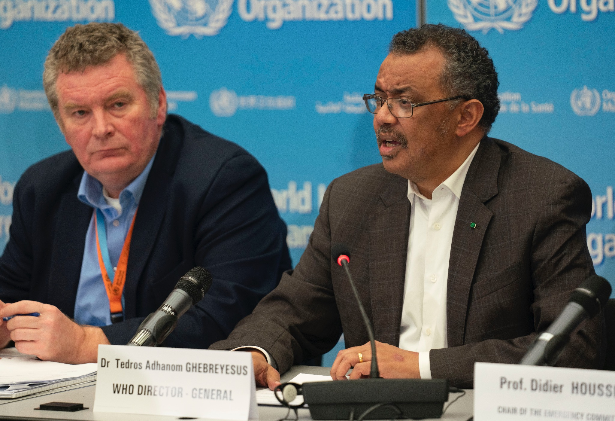 WHO chief, Tedros Adhanom Ghebreyesus (right) and head of the WHO's emergencies programme, Mike Ryan (left). Photo courtesy: Twitter/@WHO