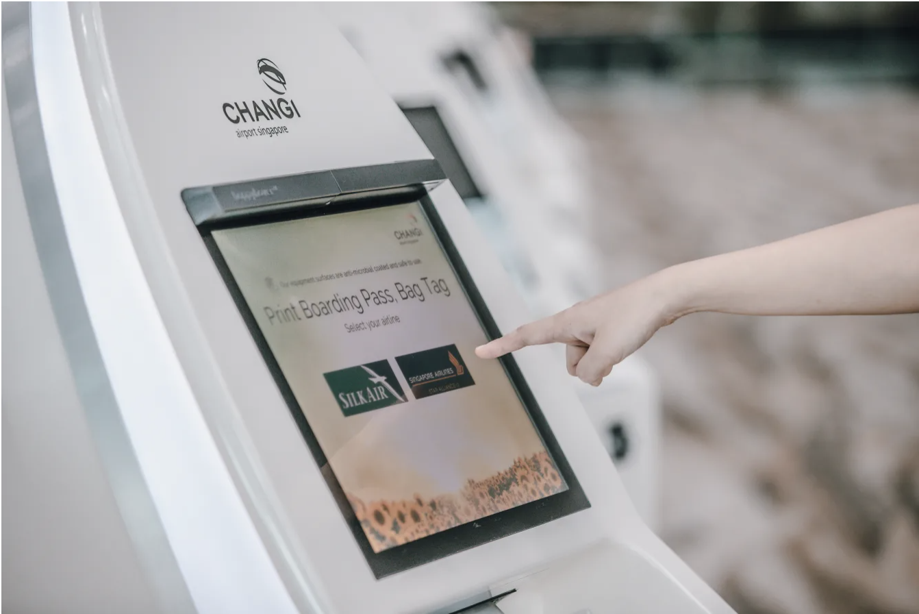 New contactless and cleaning innovations at Changi Airport, such as the proximity touch screens, will enhance the health and safety for travellers. Photo courtesy: Changi Airport Group