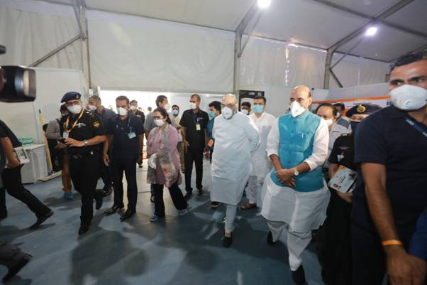 Union Home Minister Amit Shah and Defence Minister Rajnath Singh visited the 1000-bed and 250-ICU unit Sardar Vallabh Bhai Patel COVID-19 Hospital in New Delhi.