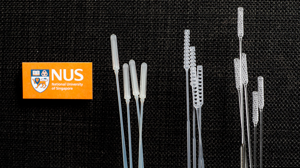 NUS researchers have designed three nasopharyngeal swabs for COVID-19 testing: (from left) IM2, IM3 and Python. Photo courtesy: NUS