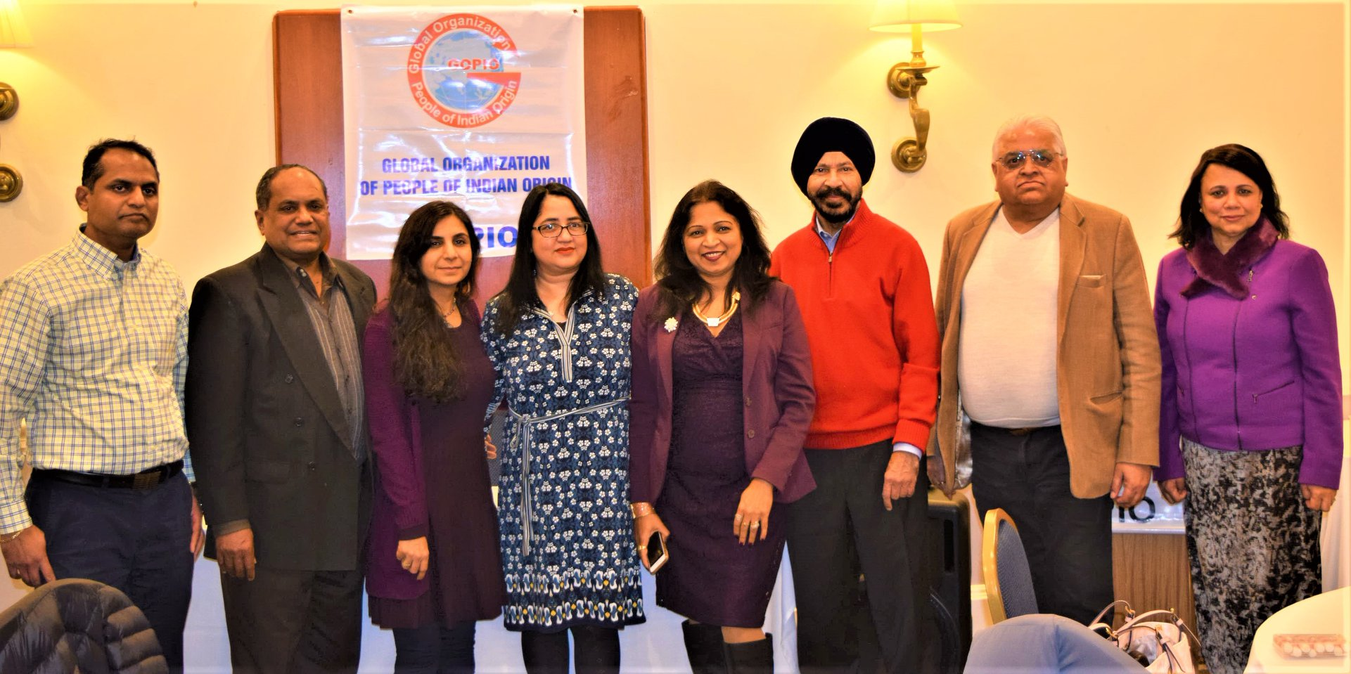 GOPIO-CT officials with Health seminar speakers; From l. to r.: Santosh Gannu, GOPIO Chairman Dr. Thomas Abraham, Yashasvi Jhangiani, Dr. Alka S. Popli, Dr. Jaya Daptardar, Ravi Dhingra, Ashok Nichani and GOPIO-CT Anita Bhat
