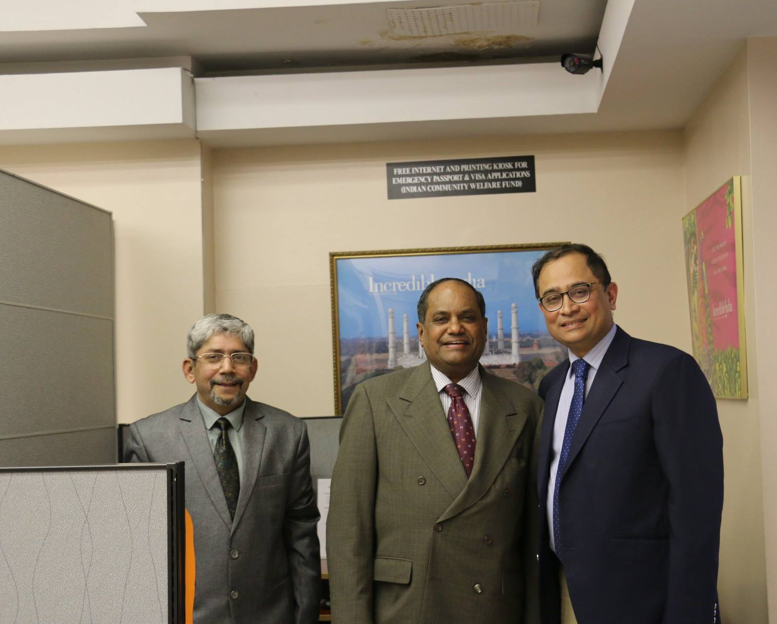 Dr thomas Abraham (centre) at the Indian Consulate in New York with Consul-General of India Sandeep Chakravorty (right) at the inauguration of the . Photo courtesy: CGI, New York