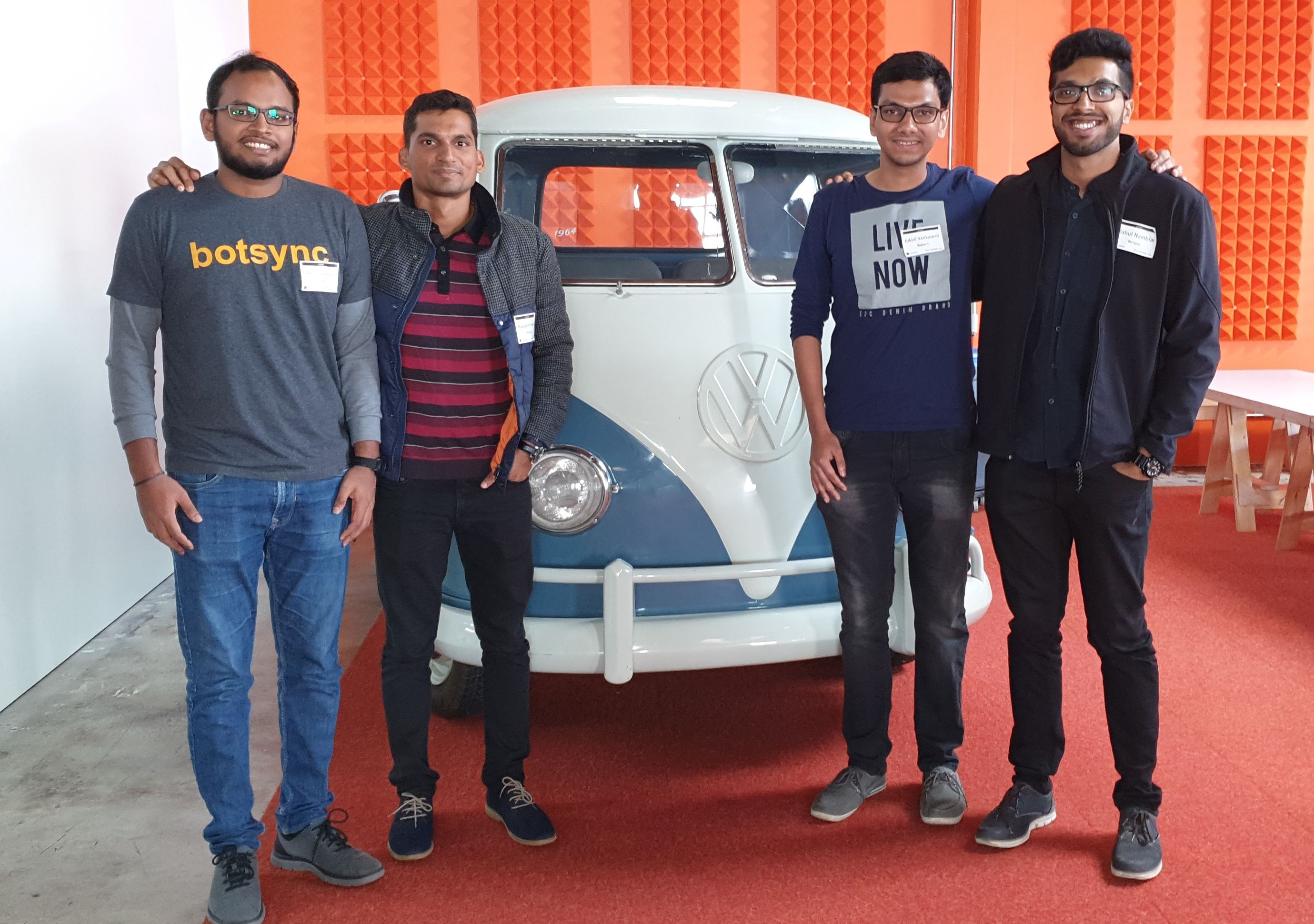 The Botsync Team - Nikhil Venkatesh, Prashant Trivedi, Singaram Venkatachalam and Rahul Nambiar. Photo Courtesy: Botsync