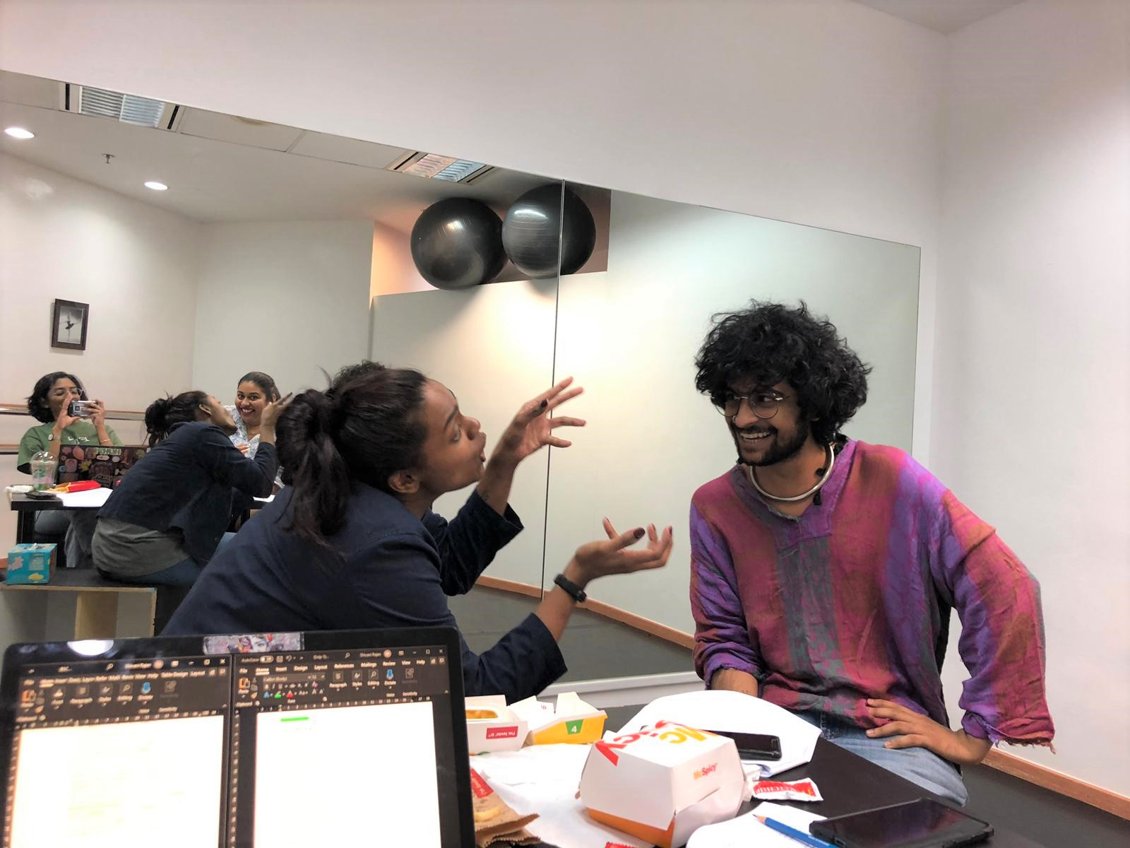 The cast of Between 5 Cows and the Deep Blue Sea, Sajini and Kewel Kartik, rehearsing for the dramatized reading. Photo Courtesy: Esplanade