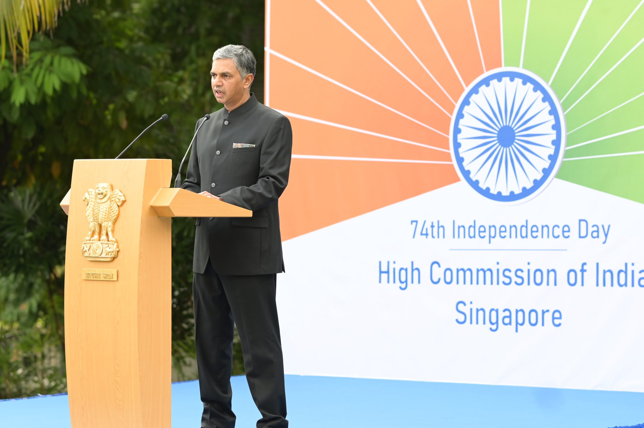 HE P Kumaran, High Commissioner of India to Singapore speaking during the Indiependence Day ceremony in Singapore. Photo courtesy: Twitter/@IndiainSingapor