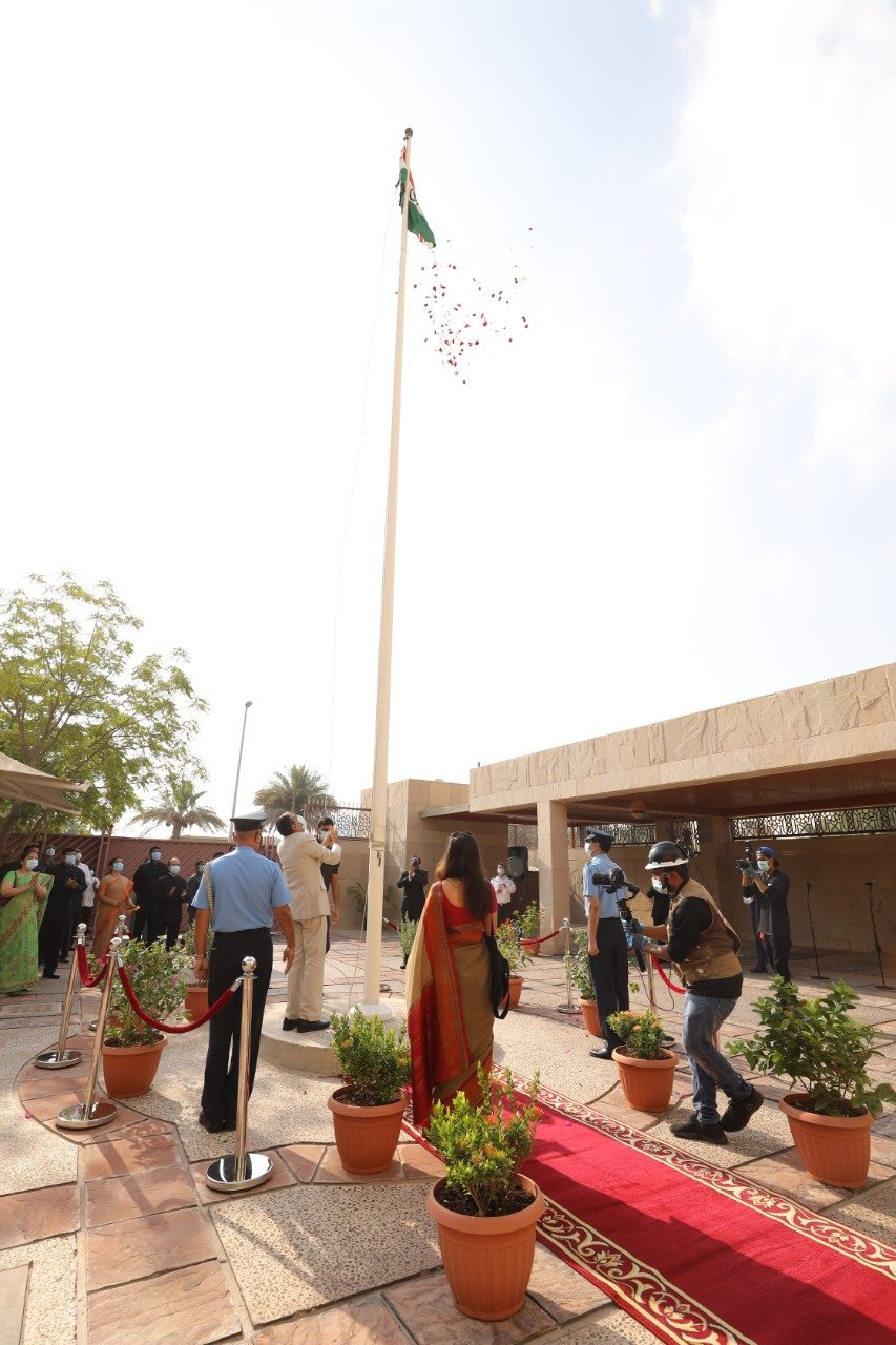 Ambassador Pavan Kapoor unfurled the Tricolour in presence of the officers and staff of the Embassy 74th Embassy of India Abu Dhabi United Arab Emirates