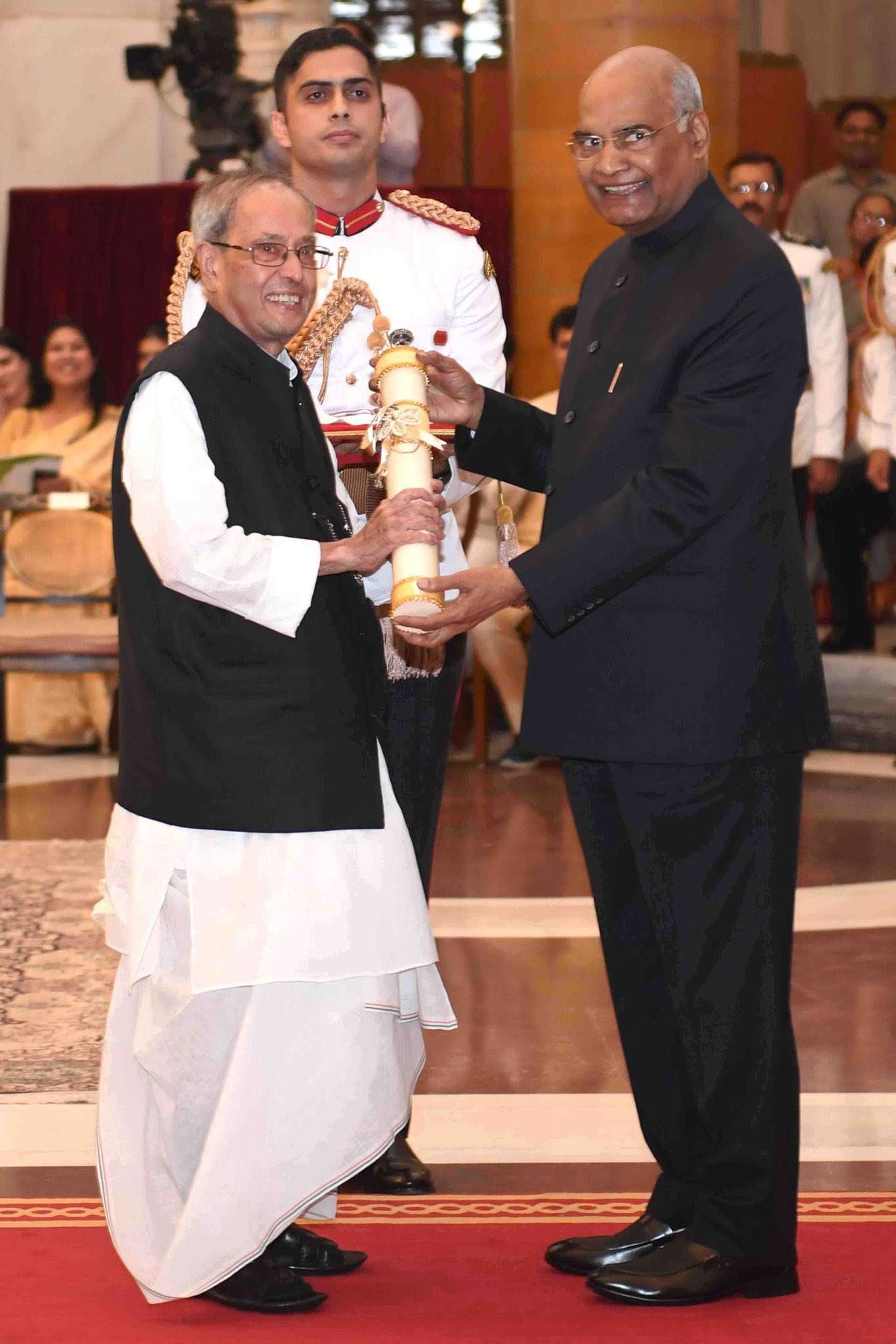 Pranab Mukherjee ji on being conferred with Bharat Ratna.