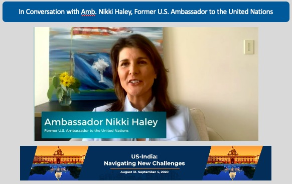 """Haley asked the Indian American community to embrace and """"brag about their achievements and not hide behind their traditional humility and shyness."""""""