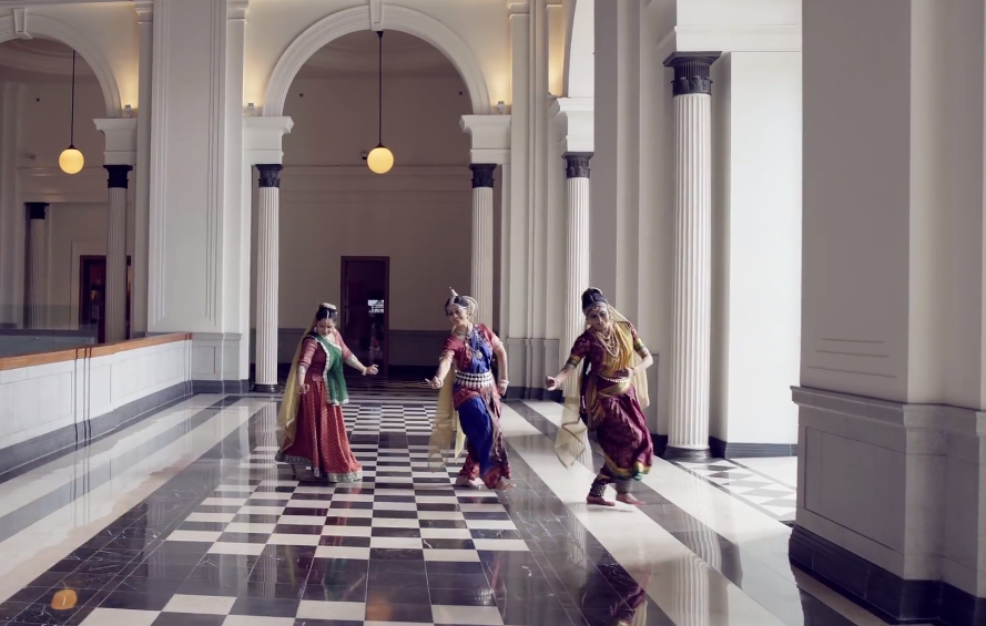 Kausalya leading Rama, Kaikeyi escorting Bharata and Sumitra holding the hands of her twins Lakshmana and Shatrughna. Photo Courtesy: IHC Video/ Screengrab.