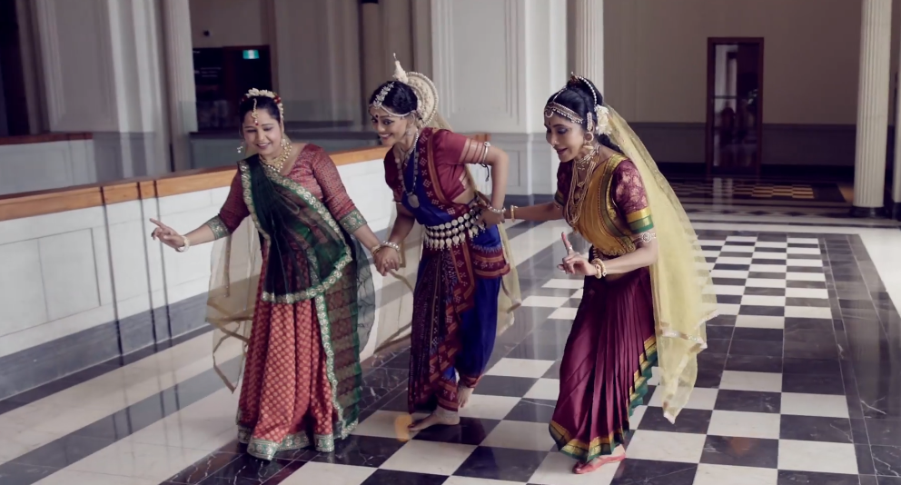 Kuchipidi by Shantha Ratii, Odissi by Chitra Shankar and Kathak by Pallavi Sharma was aptly used to portray the roles of Kaikeyi, Kausalya and Sumitra to soulful music. Photo Courtesy: IHC Video/Screengrab