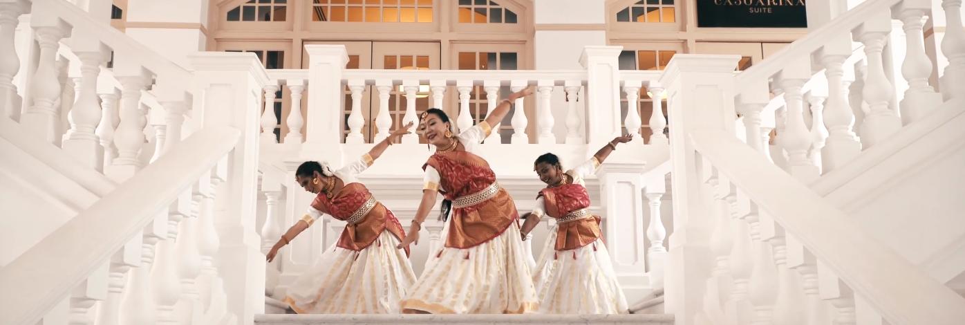 Joyful Dancers Production's celebratory number welcoming Lord Rama was shot at Singapore's iconic Raffles Hotel. Photo Courtesy: IHC