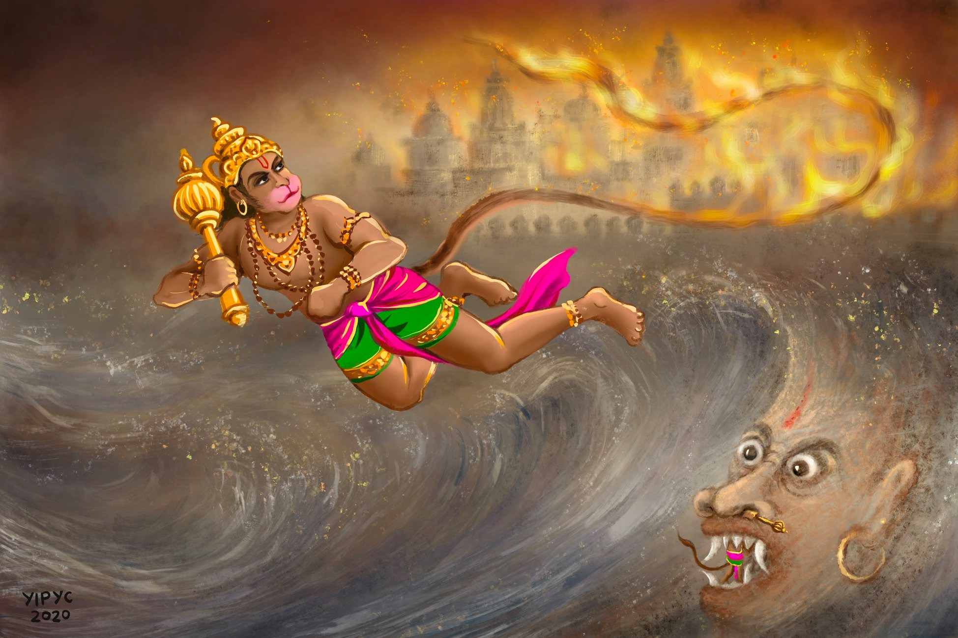 Yip Yew Chong's first-ever digital illustrations for an e-book feature stories from the Ramayana. Photo Courtesy: IHC