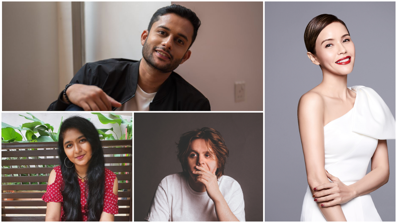 (Clockwise from top right) Joshua Marc, Zoe Tay, Lewis Capaldi and Meenakshy. Photo courtesy: Mediacorp