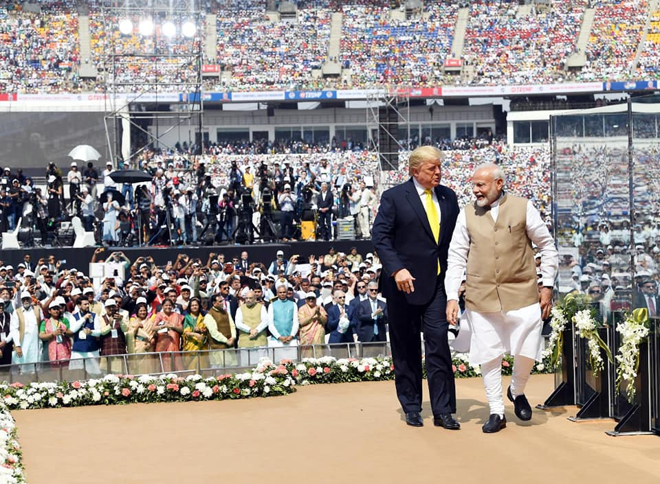 US President Trump (left) with Indian PM Modi at a rally in Motera Stadium, Ahmedabad in February. Photo courtesy: Facebook/Narendra Modi