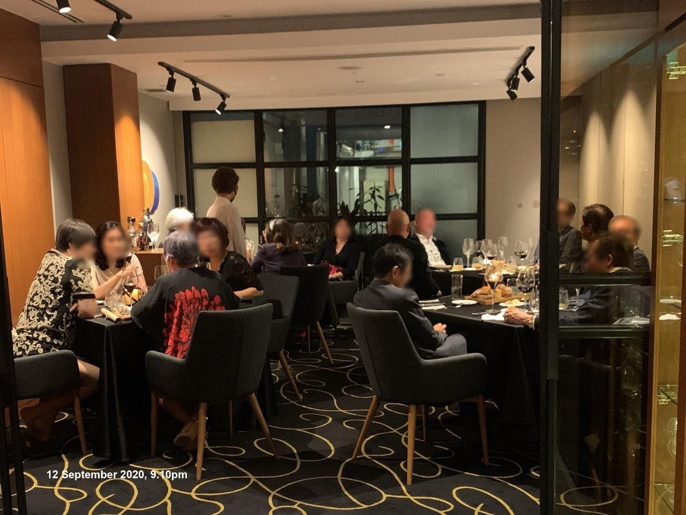 15 individuals found inside the restaurant at 39 Hong Kong Street seated across four tables and intermingling on 12 September 2020. Photo courtesy: Urban Redevelopment Authority