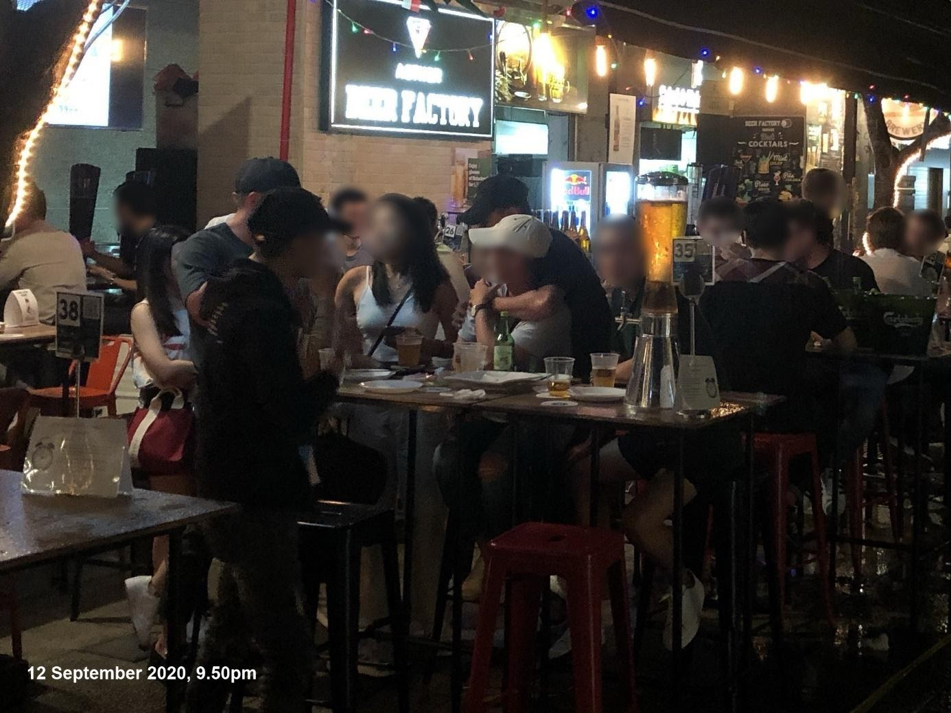 The Beer Factory admitted three groups of patrons, each comprising more than five persons, with one group comprising eight people on 12 September. Photo courtesy: Urban Redevelopment Authority
