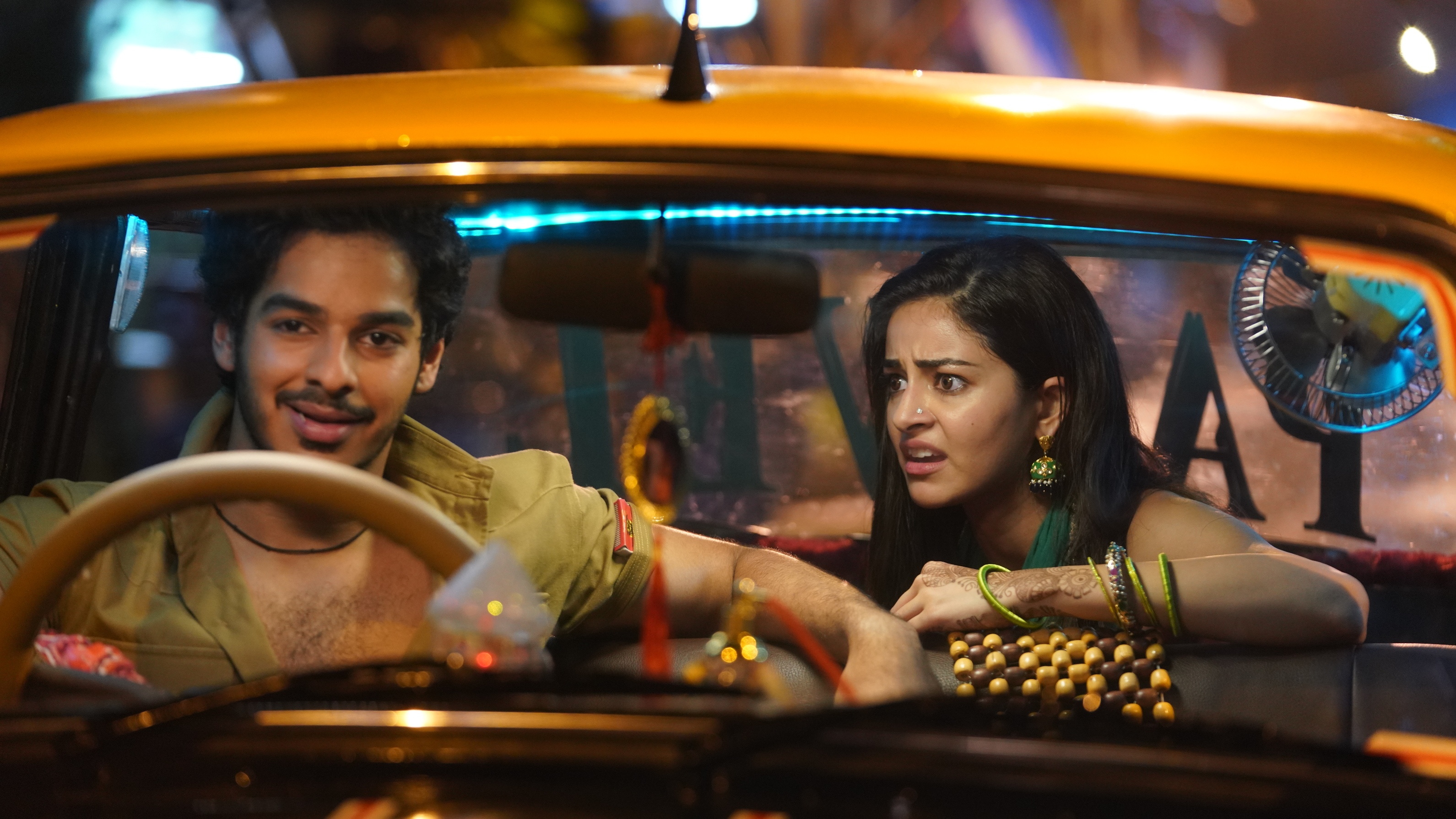 Khaali Peeli delivers typical Bollywood masala style, in an iconic Mumbai taxi. Photo Courtesy: Zee Studios