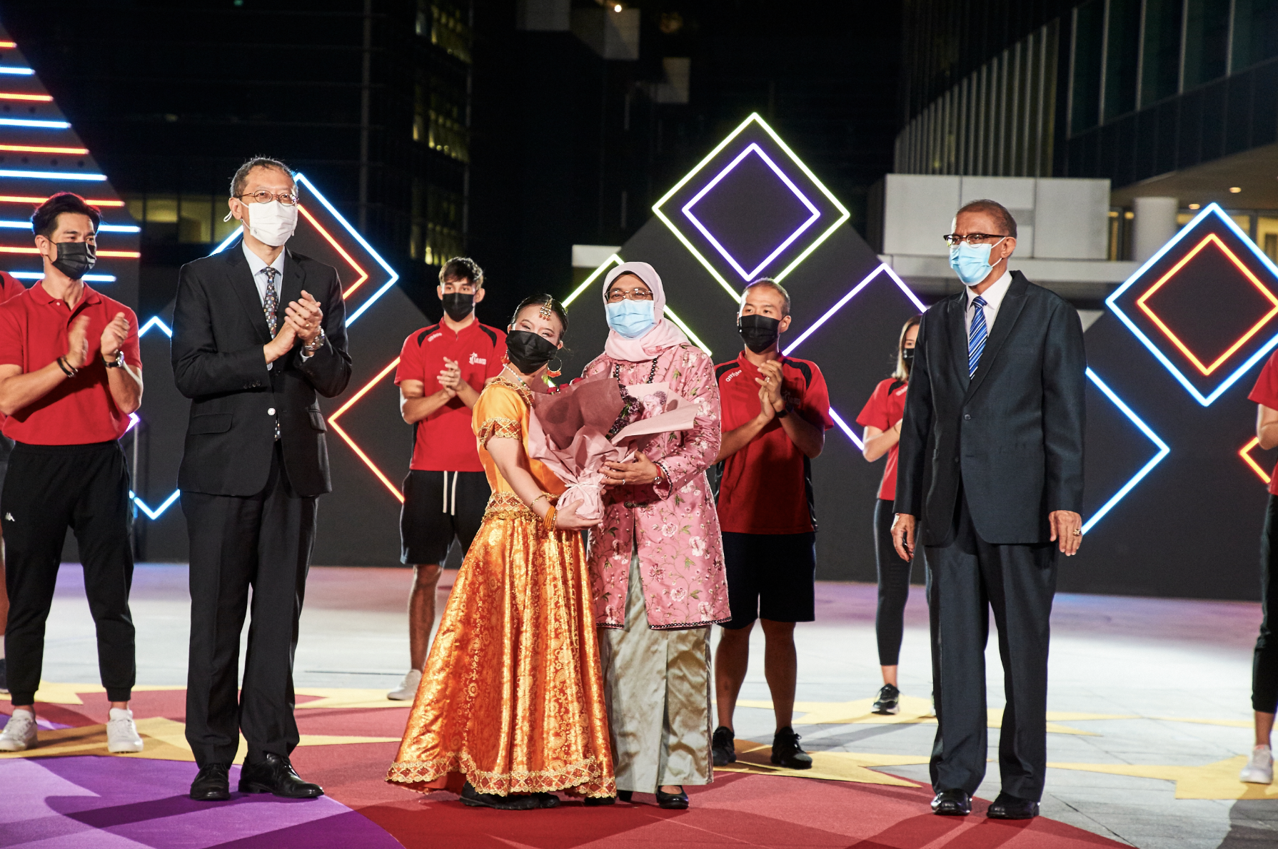 Guest-of-Honour President Halimah Yacob at  the President's Star Charity 2020. Photo courtesy: Mediacorp