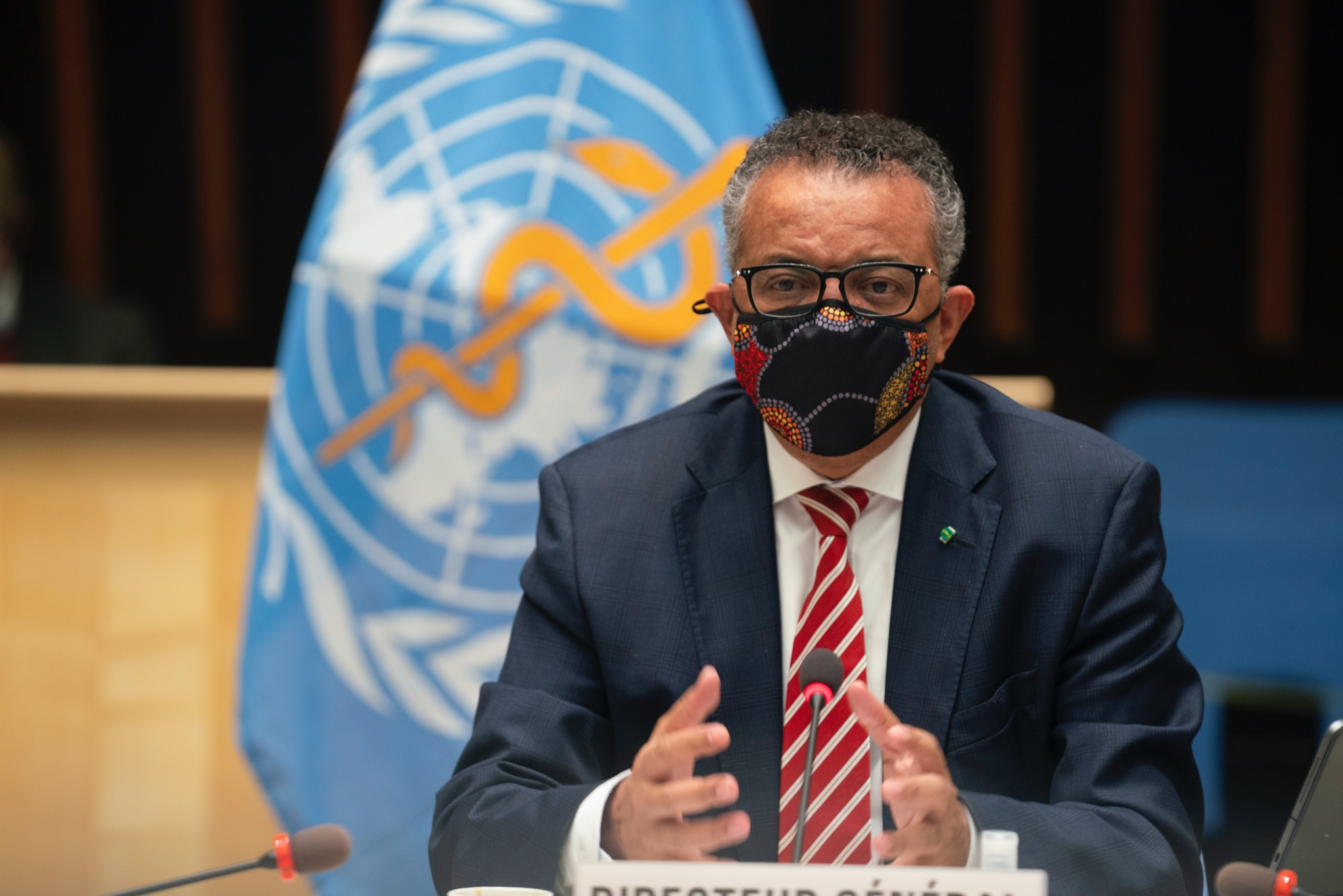 WHO director-general Tedros Adhanom Ghebreyesus at the meeting of the organisation's executive board. Photo courtesy: Twitter/@WHO