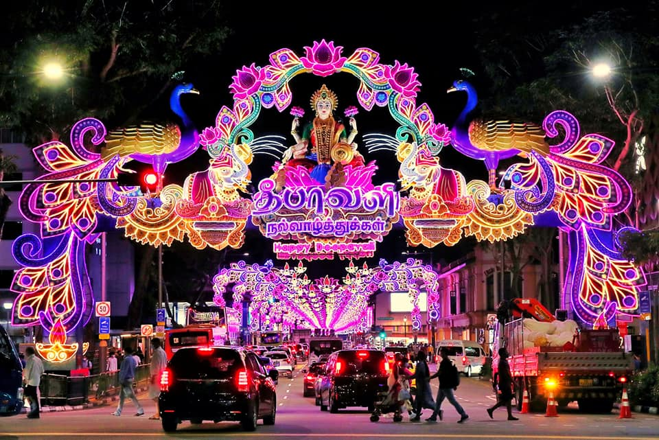 The beautiful light-up display, which starts at the junction of Serangoon Road and Sungei Road captioned Min S. Iswaran.  Photo Courtesy: S.Iswaran/FB