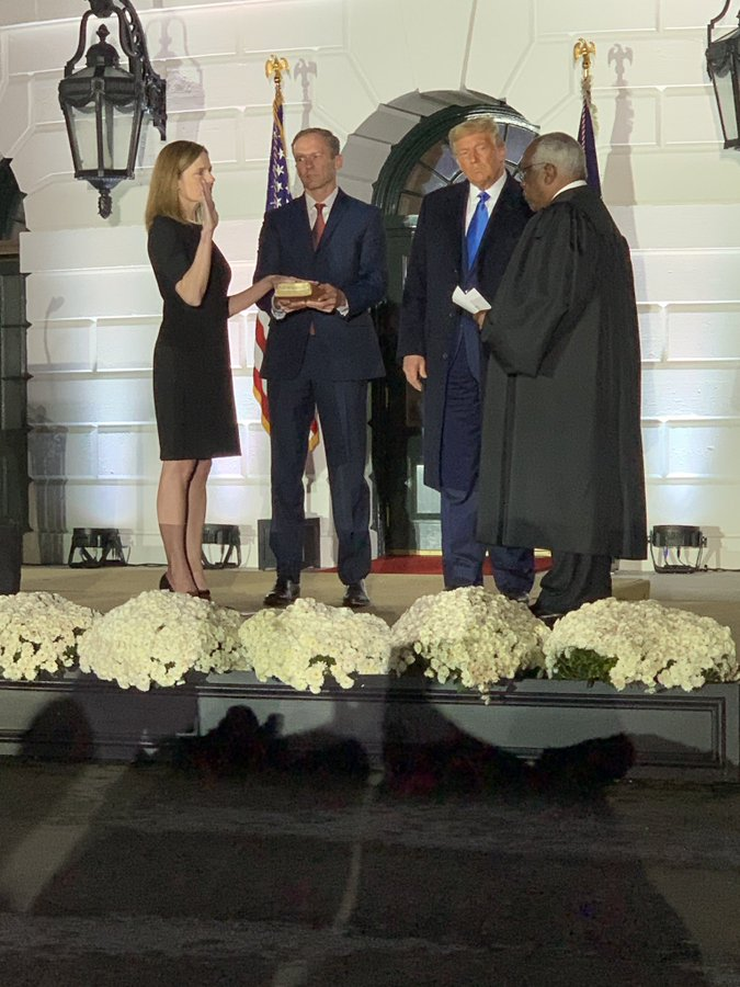 Barrett was sworn in at a ceremony at the White House