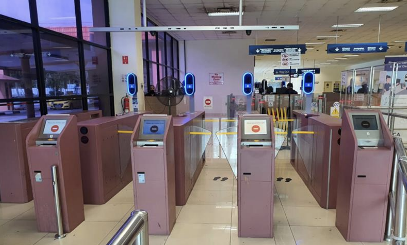 Automated immigration lanes with iris and facial scanning at Tanah Merah Ferry Terminal. Photo courtesy: ICA