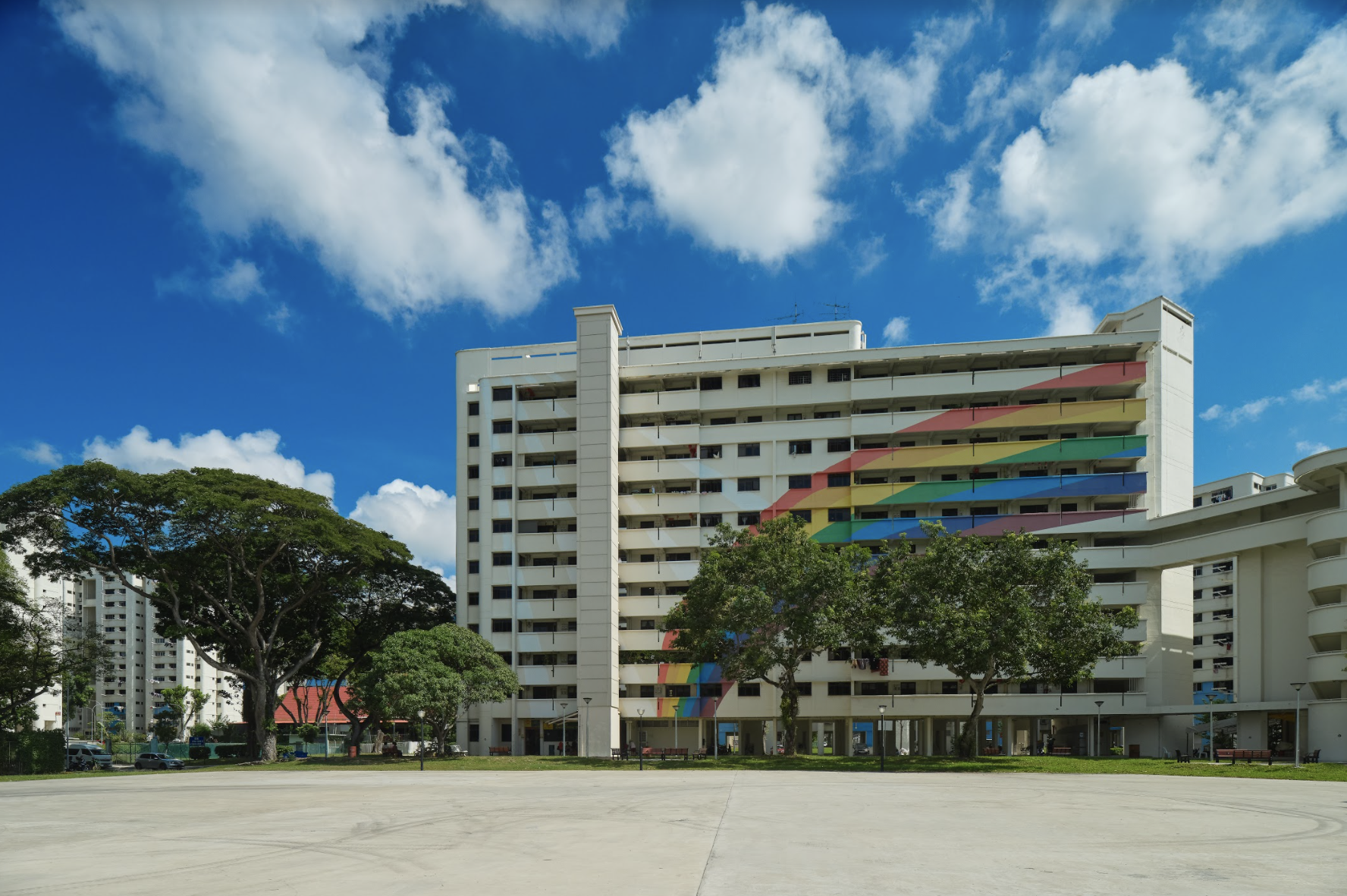 Block 316 with its iconic rainbow mural painted on its façade at Hougang Avenue 7. Photo courtesy: NHB