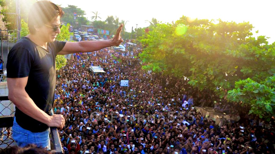 The actor's fans usually gather in large numbers in front of his home in Mumbai on his birthday. Photo Courtesy: Twitter