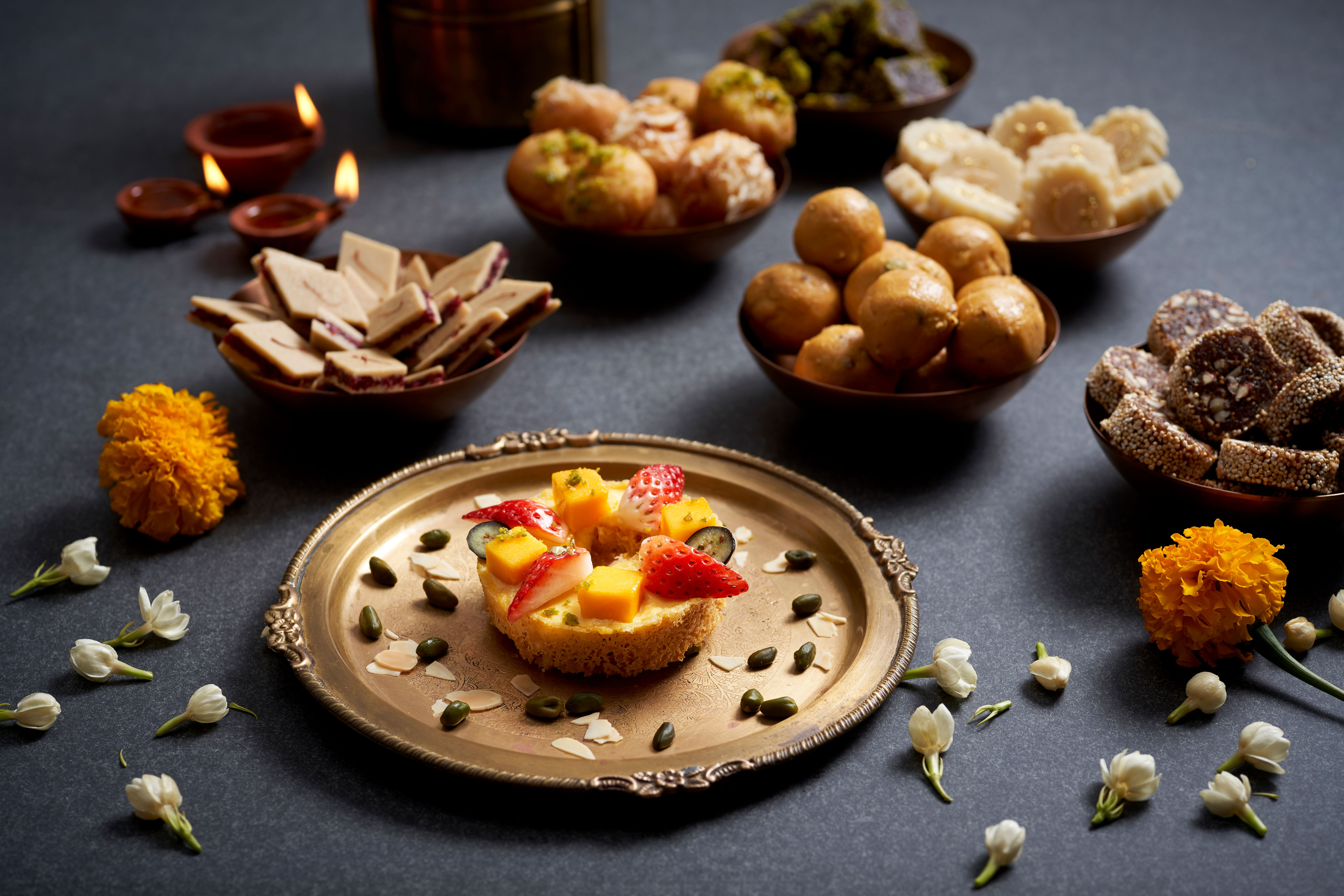 Handmade Mithai Diwali specialty sweets for takeaway, will also be available at the Tiffin Room for Diwali. Photo credit Raffles Hotel Singapore