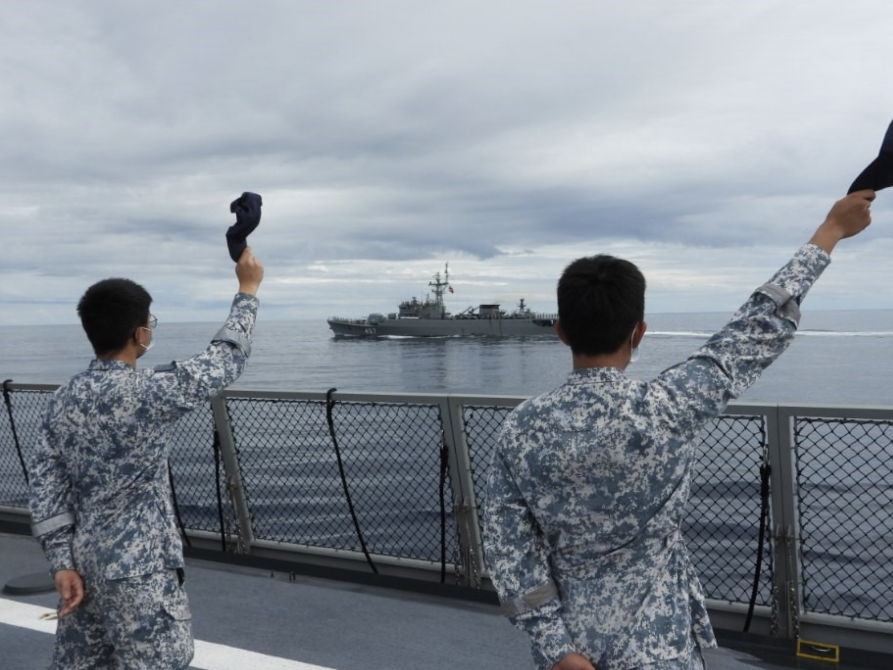 Republic of Singapore Navy sailors lining the deck for the sailpast to conclude the exercise. Photo courtesy: Mindef