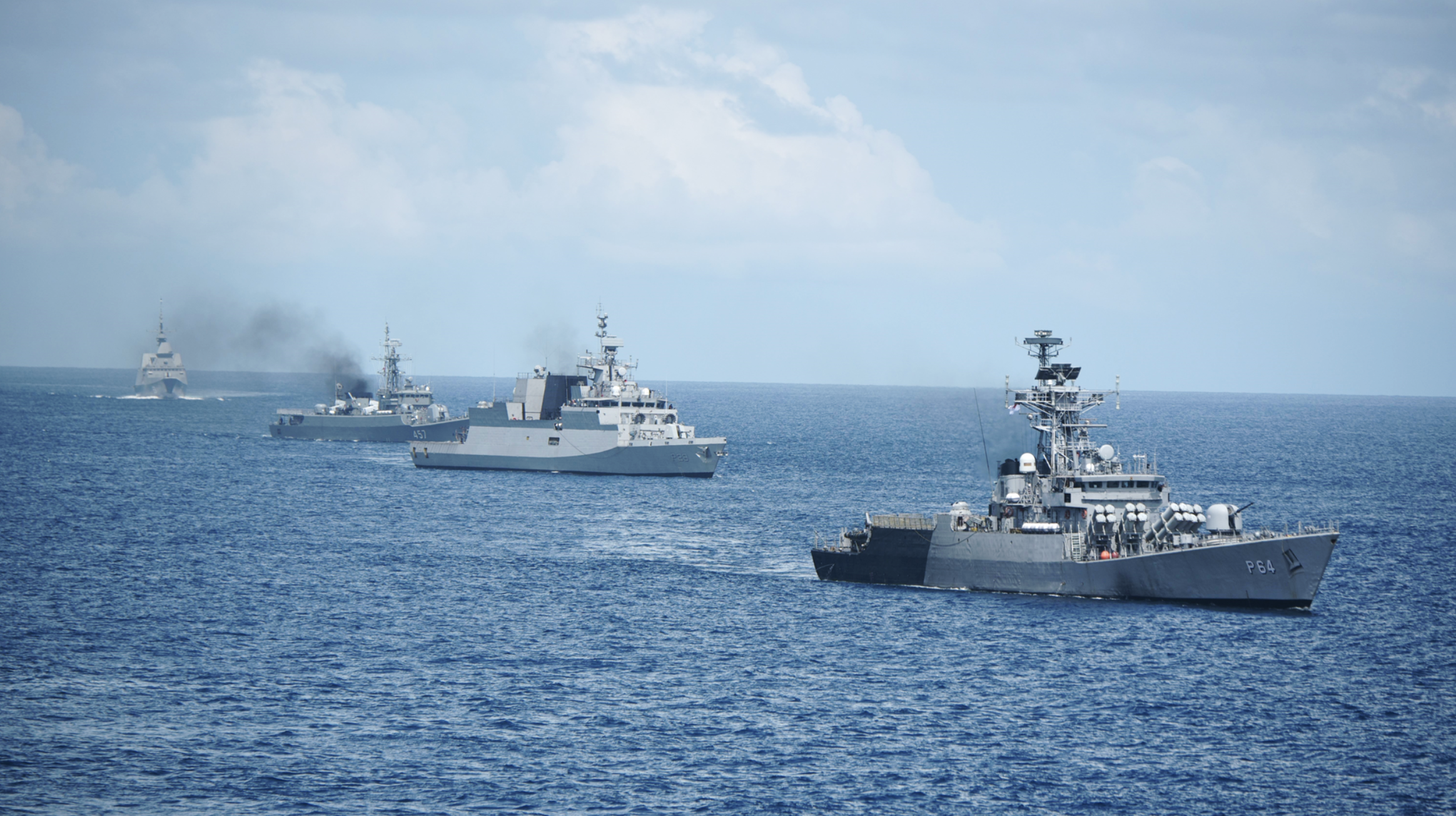 The Republic of Singapore Navy, Indian Navy and Royal Thai Navy conducting manoeuvring drills during SITMEX 2020. Photo courtesy: Mindef