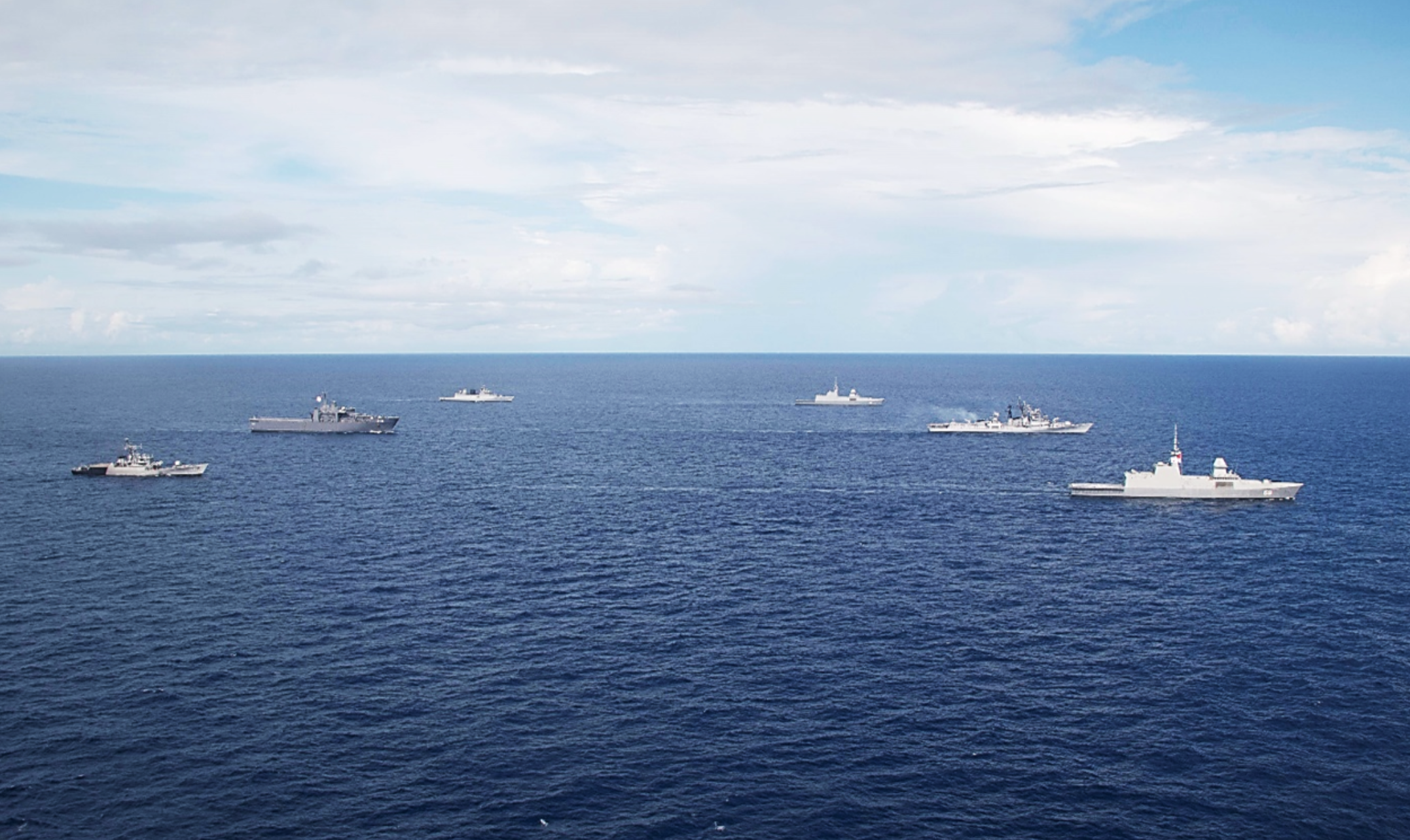 The Republic of Singapore Navy and Indian Navy sailing in formation during SIMBEX 2020. Photo courtesy: Mindef