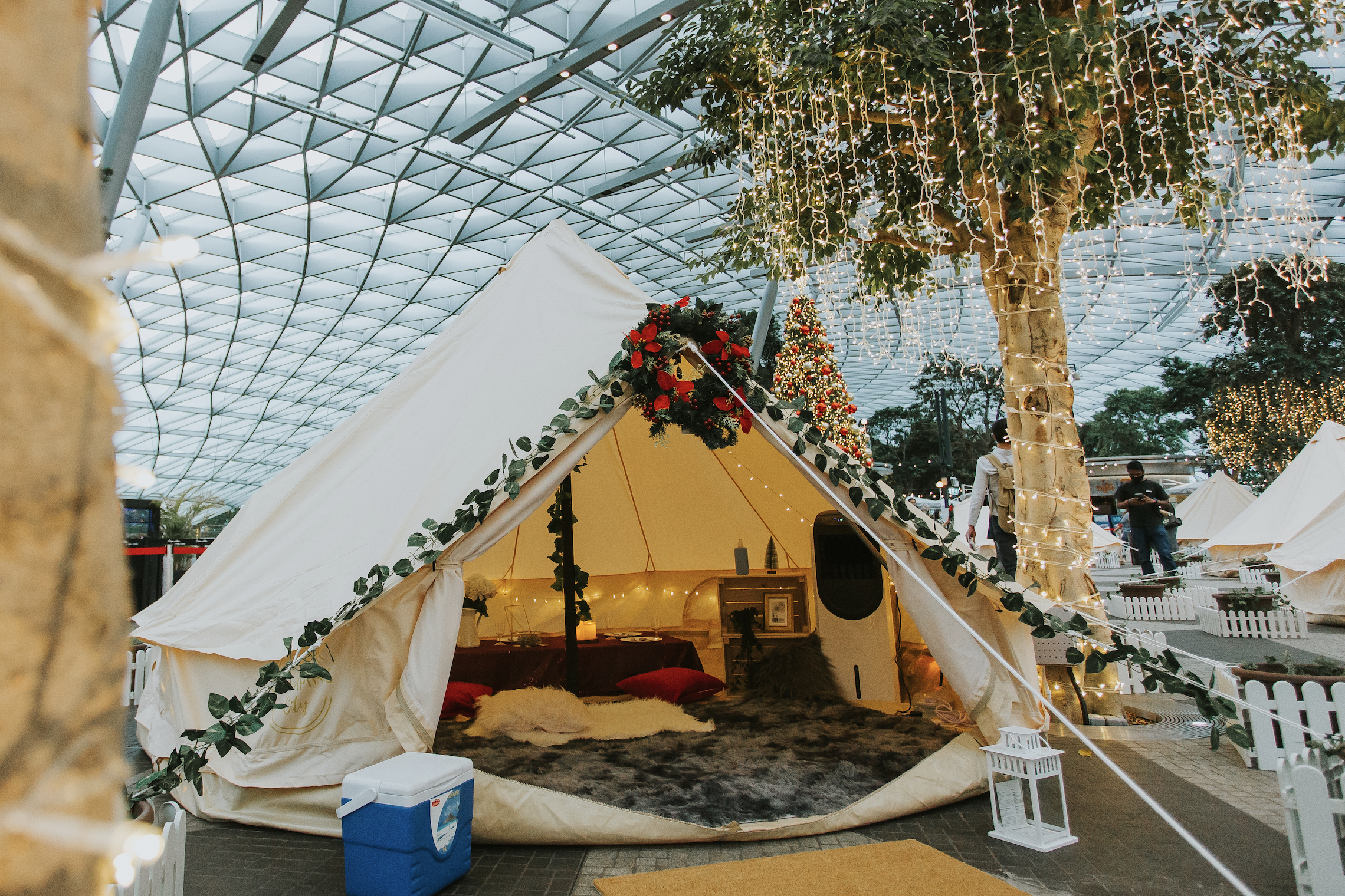 Glamp tents at Jewel Changi Airport Cloud9 Piazza set and ready to receive their first guests. Photo courtesy: Changi Airport