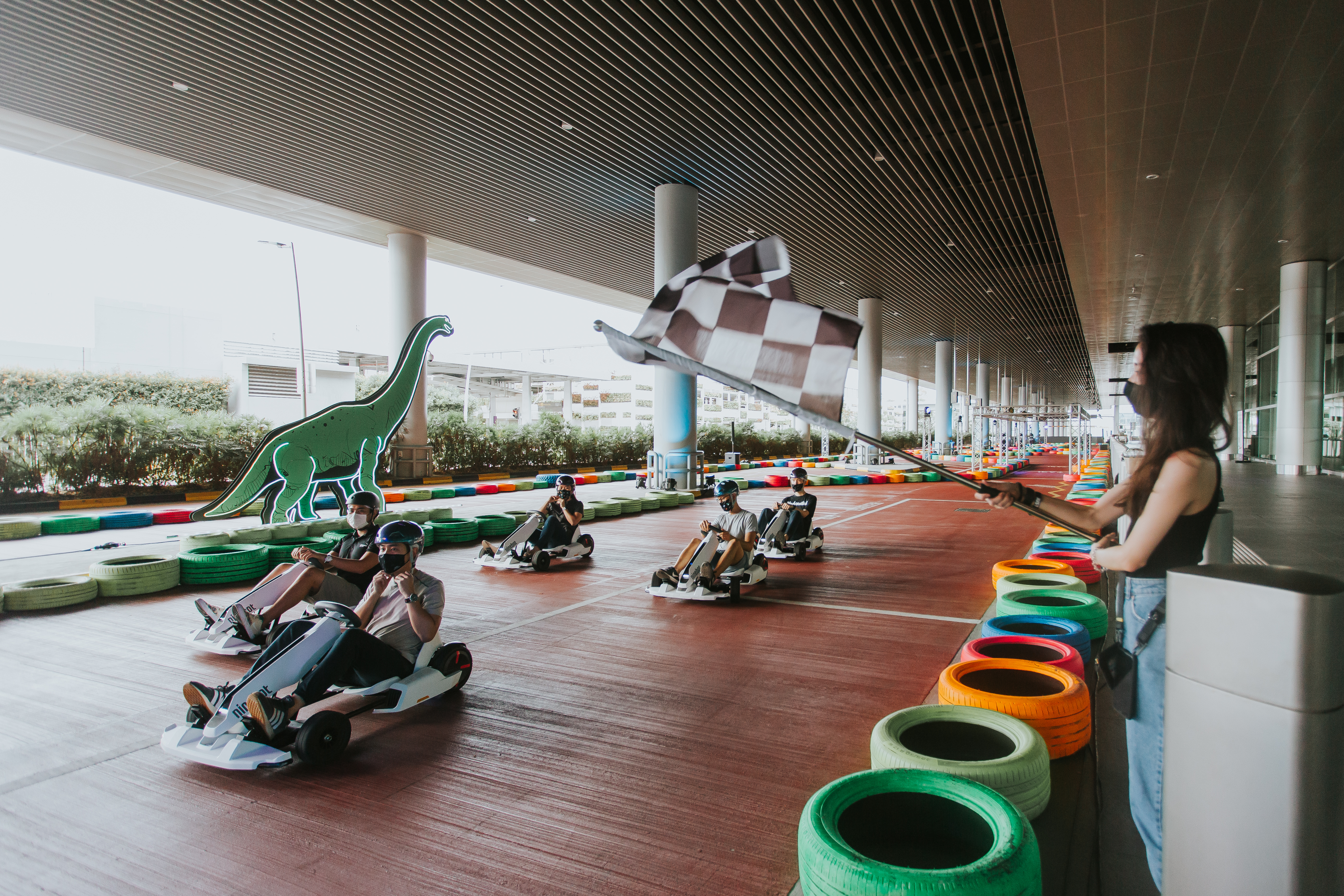 Prepare for some fast and furious action at the Dino Kart race track at T4. Photo courtesy: Changi Airport