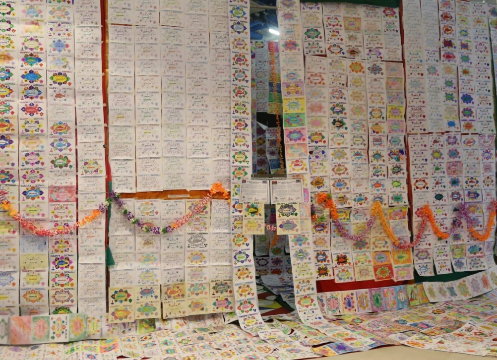 12000 'Thank you Singapore' hand-painted Deepavali greeting cards that got into the Singaore Book of Records,  displayed. Photo: Connected to India
