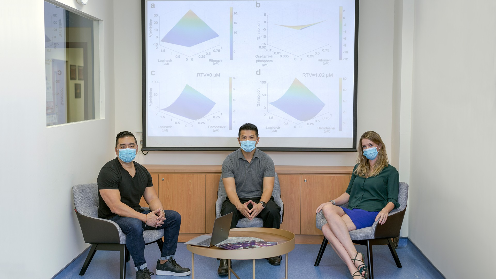 Professor Dean Ho, Associate Professor Edward Chow, and Dr Agata Blasiak worked with their collaborators to derive an optimal combination of available therapies against SARS-CoV-2 using the IDentif.AI platform. Photo courtesy: NUS