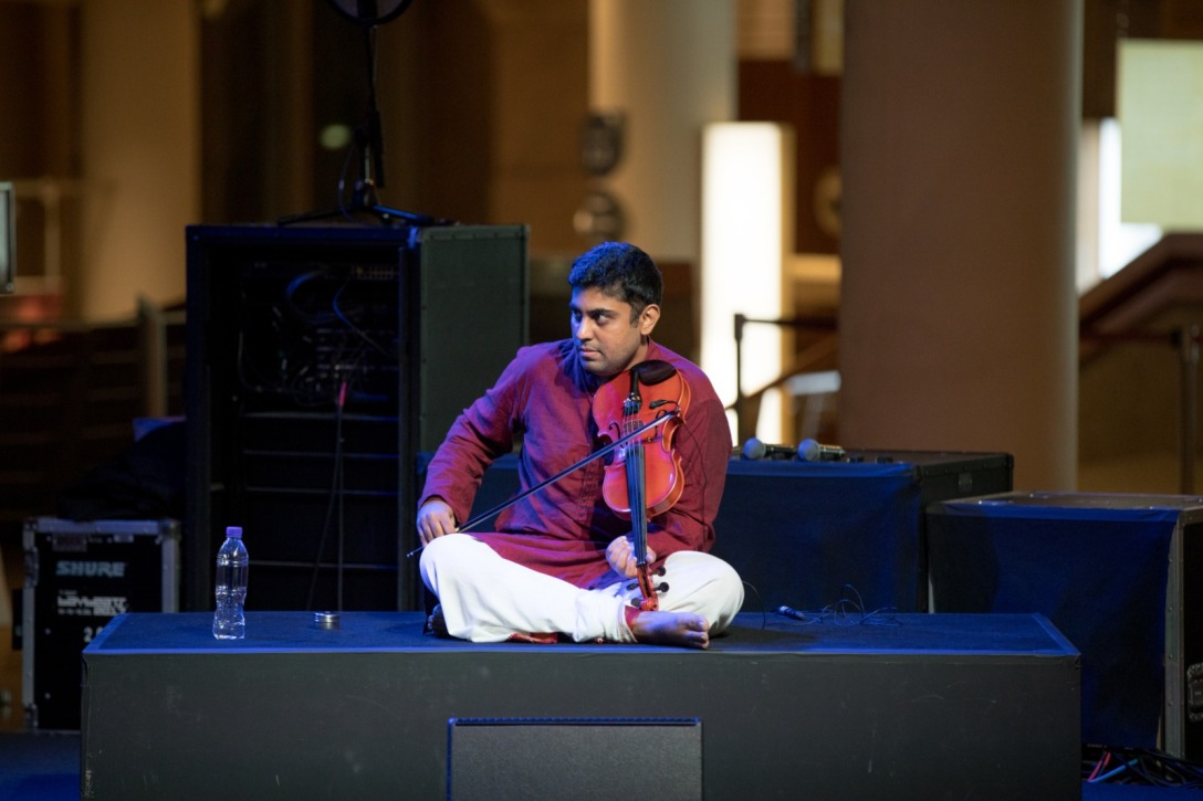 Sughosh Pavan is an All India Radio graded artist, accompanying artists across various prestigious sabhas and temples in Singapore and Bangalore. Photo courtesy: Esplanade