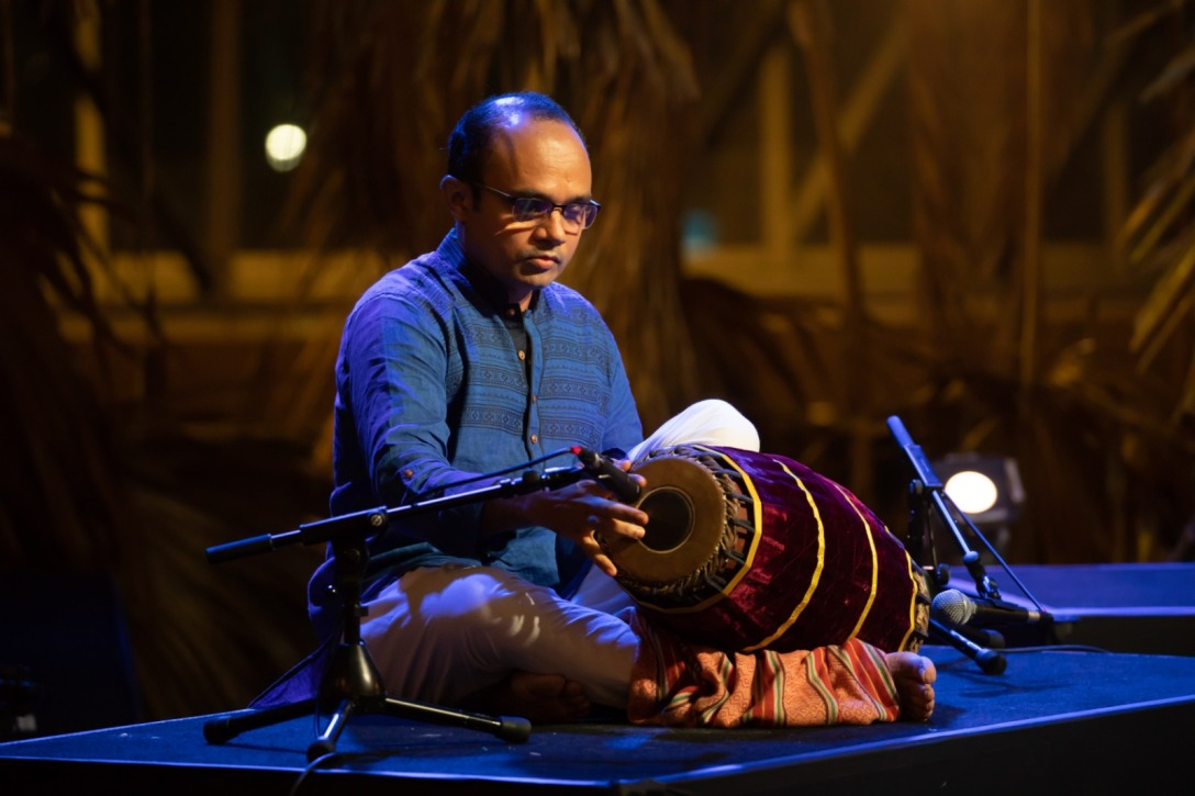 Sathish Sista has won the gold medal twice in All India Mridangam competitions. Photo courtesy: Esplanade