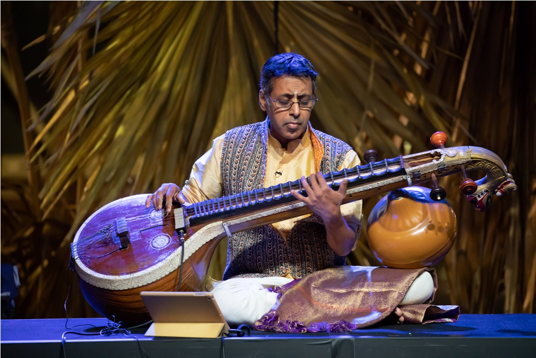 Ramkumar Vasudevan is the holder of the record for largest veena ensemble with 35 veenas in the Singapore Guinness Book of Records'. Photo courtesy: Esplanade