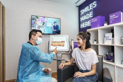 The SmileGuides process includes creating a digital image of the customer's teeth using 3D scanning technology and an in-person consultation with a Singapore registered dentist or orthodontist after the scan.