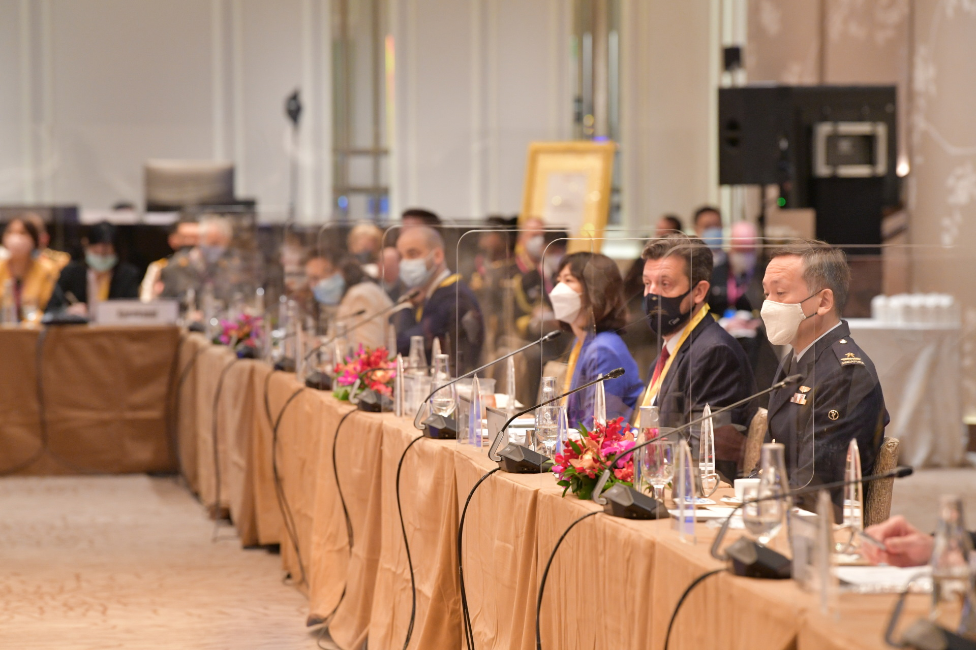 Plexi-glass dividers were deployed at the conference venue as well as at the meal areas to minimise the risk of COVID-19 infection as part of the SLD Sherpa Meeting Safe Management Measures. Photo Courtesy: MINDEF