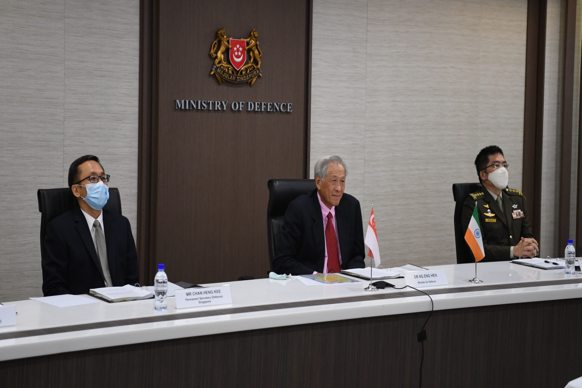 Minister for Defence Dr Ng Eng Hen (centre) co-chairing the 5th India-Singapore Defence Ministers' Dialogue (DMD) with India's Minister of Defence Rajnath Singh over video conferencing. Photo Courtesy: MINDEF