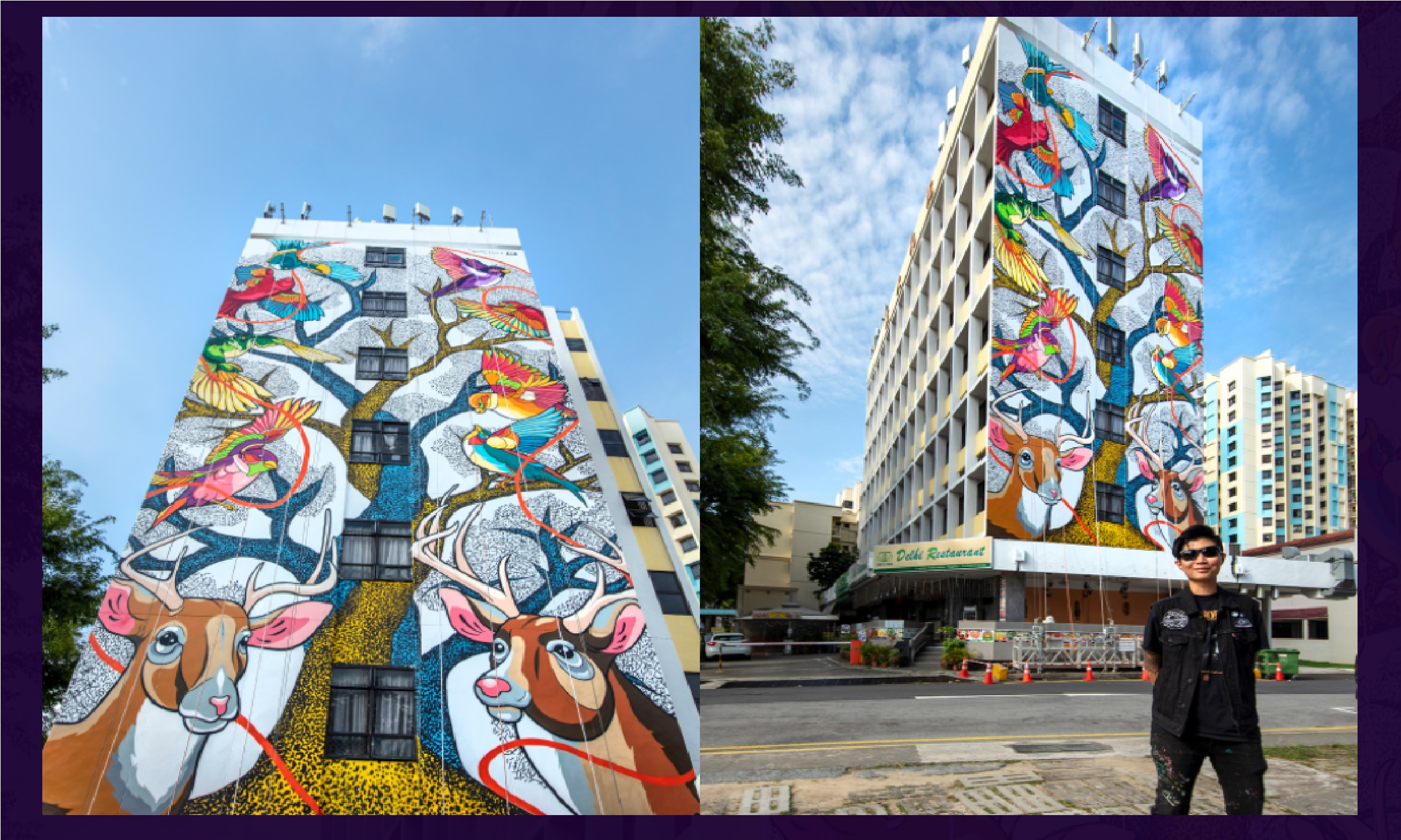 One of the tallest murals in Singapore, 'Dancing in Unison' stands at seven storeys tall on the façade of Broadway Hotel in Little India. Photo Courtesy: AWLI