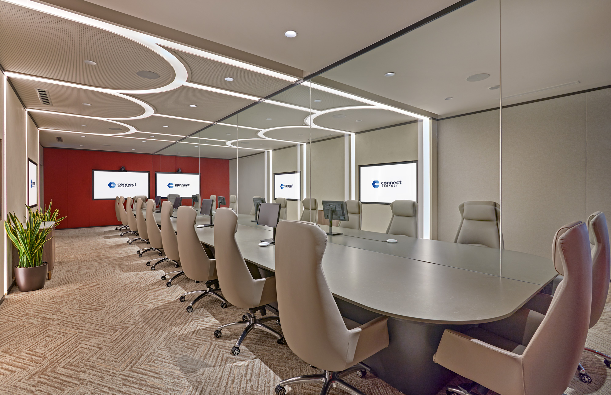 Meetings between business travellers and people from Singapore can only take place in special meeting rooms with air-tight glass panels.