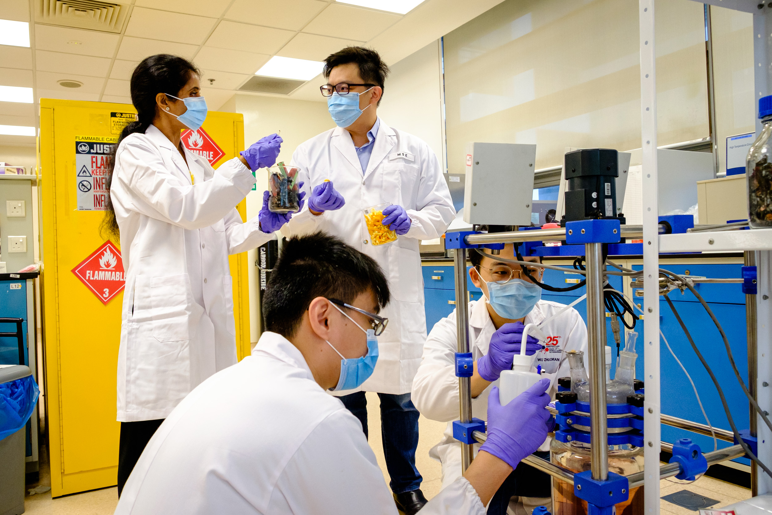 NTU materials scientists turn old batteries into new ones with orange peel. In the QS World University Rankings by Subject 2021, NTU is ranked 1st globally in Materials Science. (Credit: NTU Singapore)