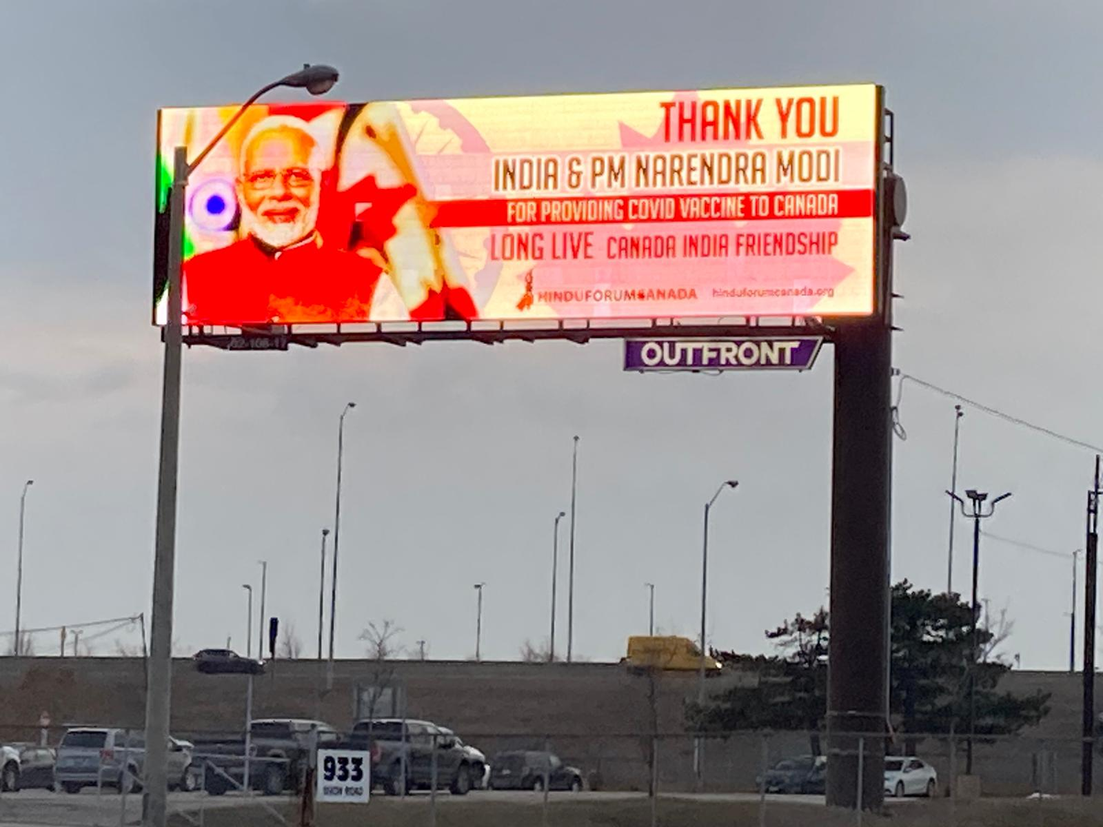 A total of nine billboards over major highways in the GTA with the message went live on Wednesday